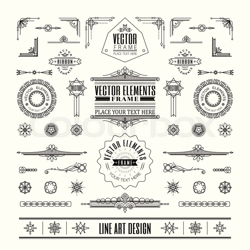 Set Of Linear Thin Line Art Deco Retro Vintage Design Elements With Frame Corner Badge In Geometric Shape Vector