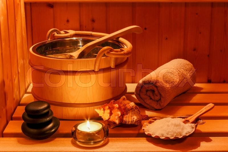 Cozy atmosphere in the sauna at a spa area of wellness hotel. recreation and relax from everyday life, stock photo