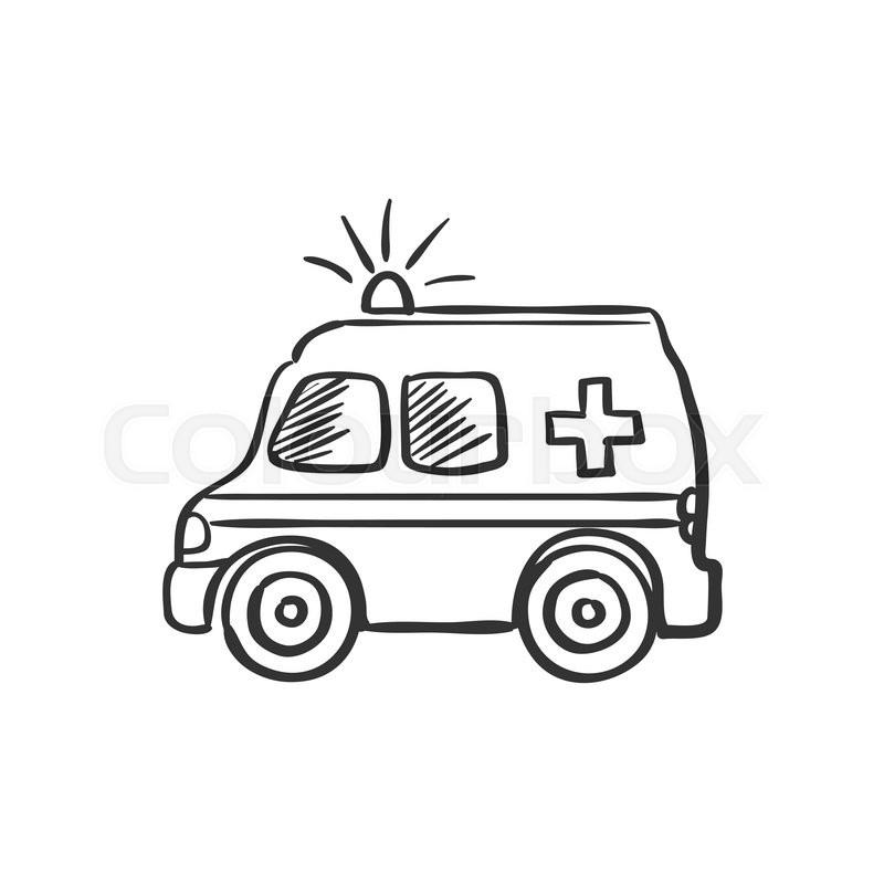 ambulance doodle drawing excellent vector illustration