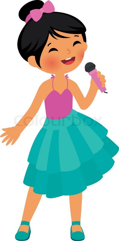asian little girl singing hold the microphone stock