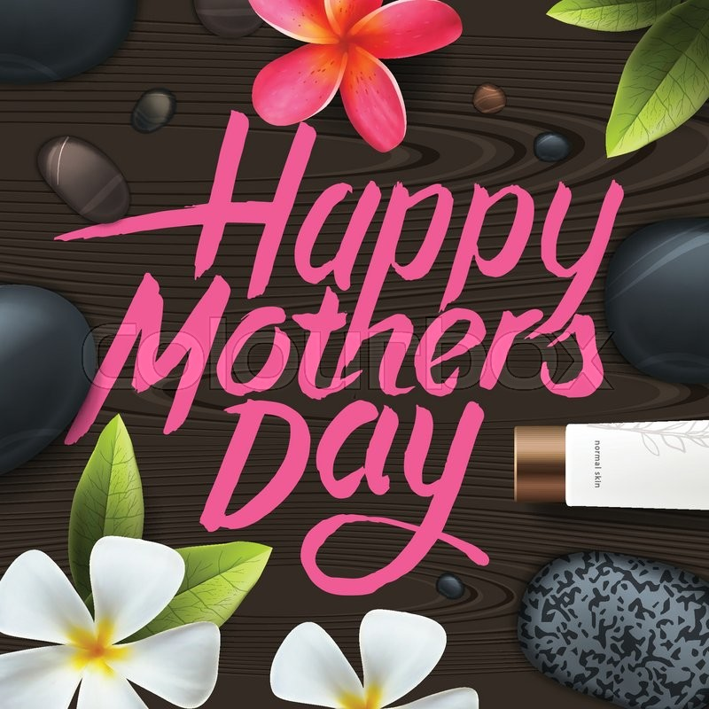 happy mothers day spa therapy vector illustration