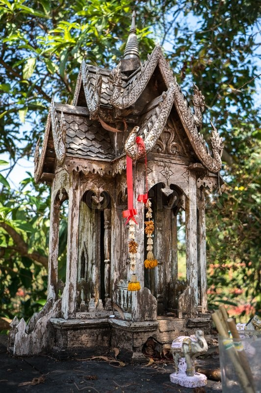 Stock image of 'Authentic wooden house of spirit in Thailand'