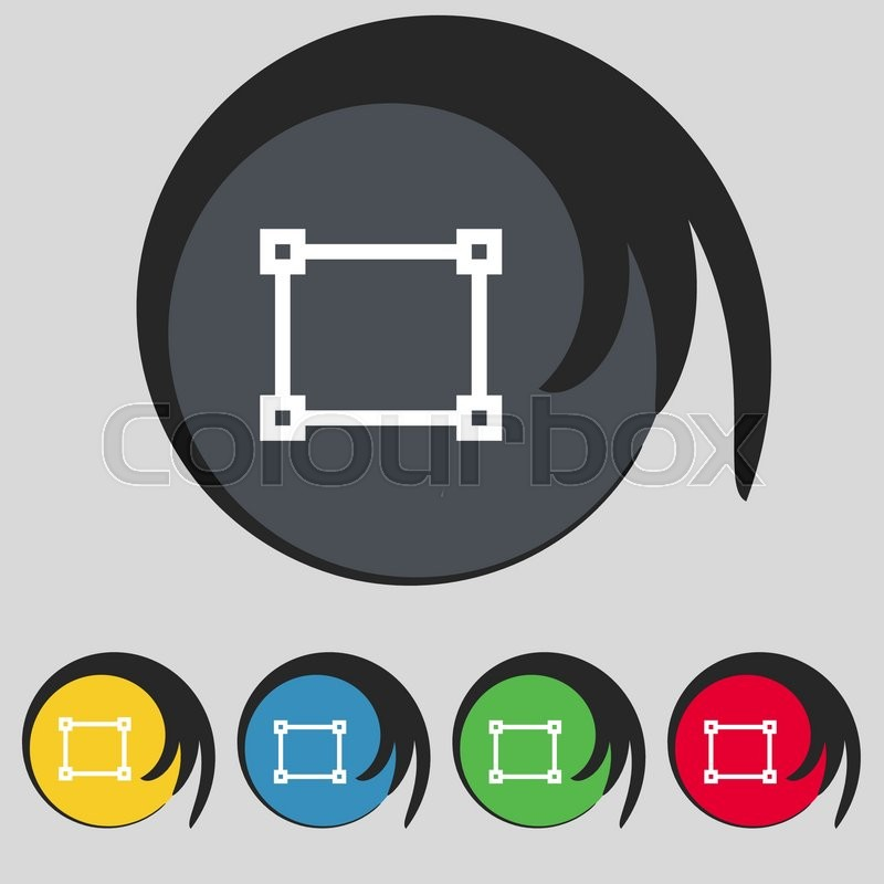 Crops And Registration Marks Icon Sign Symbol On Five Colored