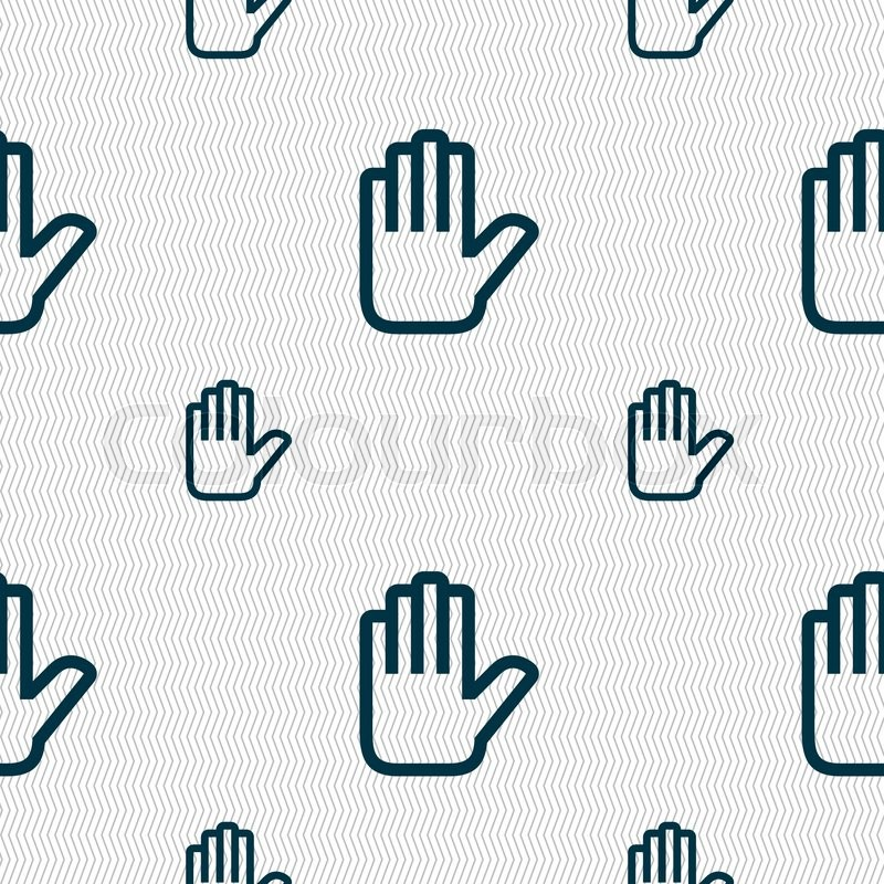 Hand print, Stop icon sign  Seamless       Stock vector