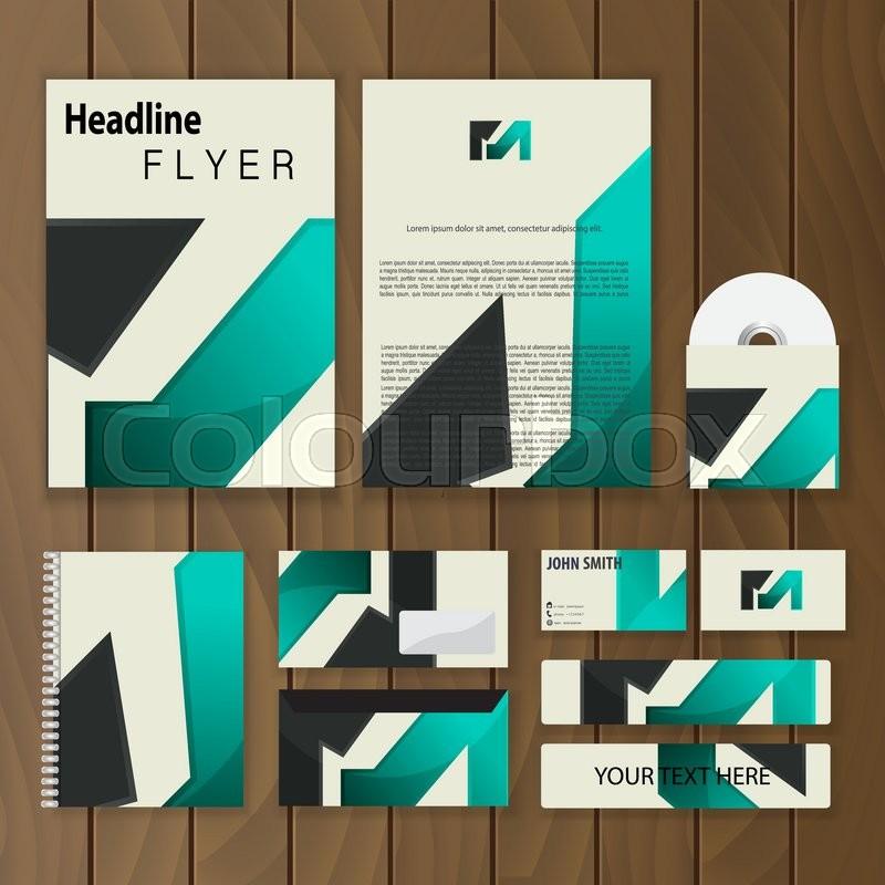 polygonal corporate identity creative stationery template trendy
