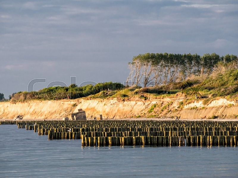 Stock image of 'Groynes on the Baltic Sea coast.'