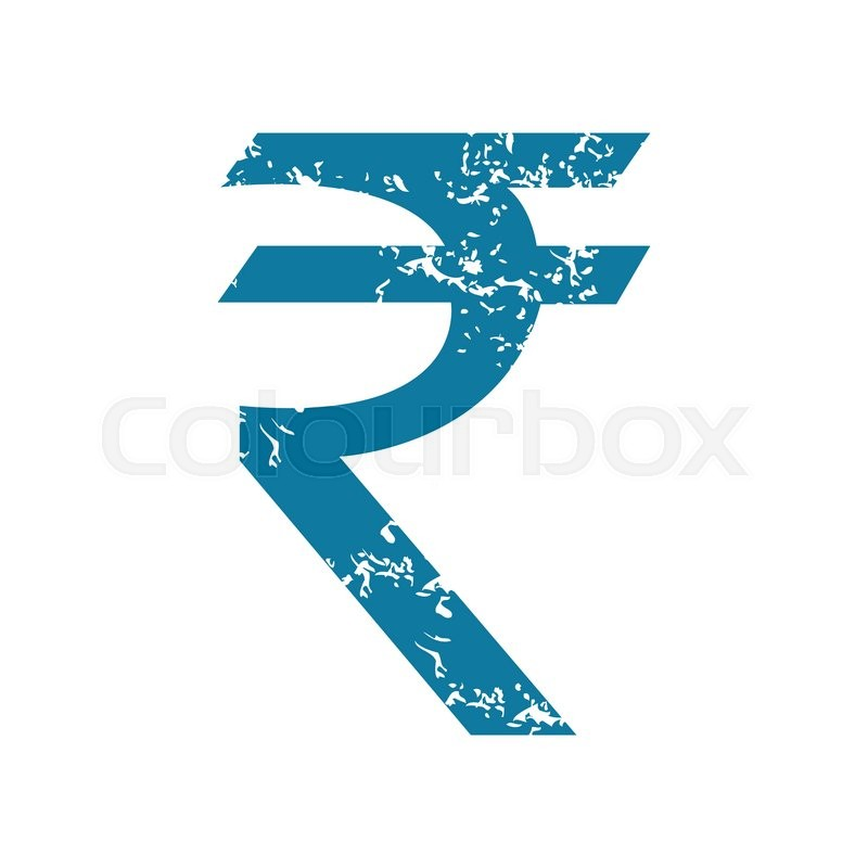 Grunge Blue Icon With Indian Rupee Symbol Isolated On White Stock