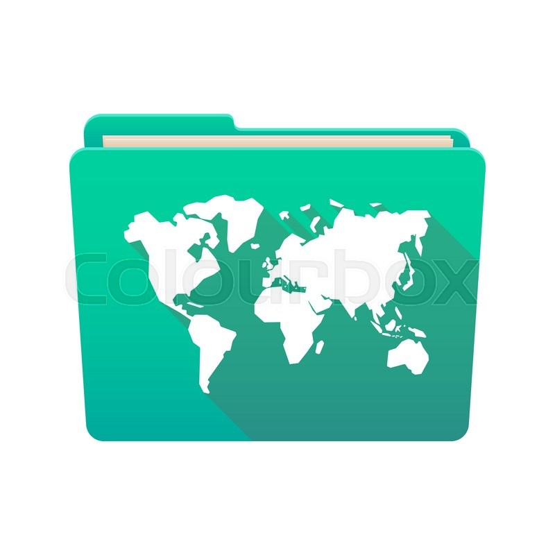 Isolated file folder icon with a world map stock vector colourbox isolated file folder icon with a world map vector gumiabroncs Choice Image