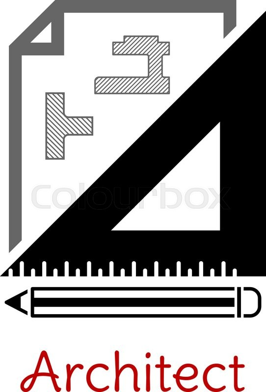 Black and white architect icon with a building blueprint right black and white architect icon with a building blueprint right angle set square and pencil with text architect below stock vector colourbox malvernweather Images