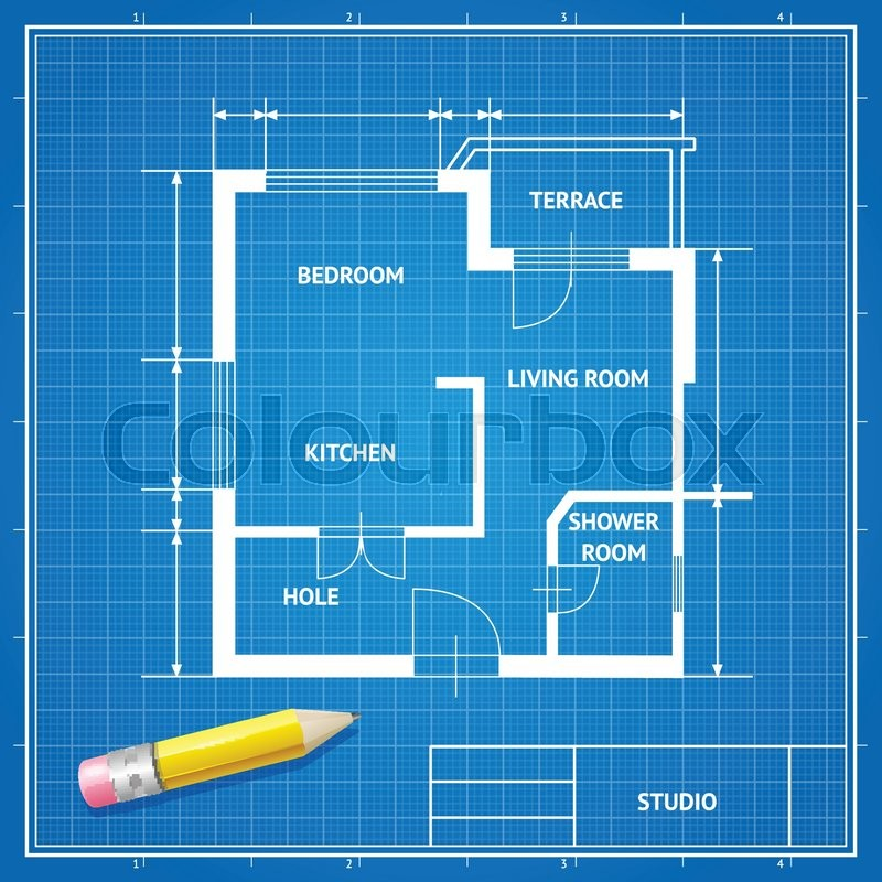 Vector illustration furniture architect blueprint with a pencil vector illustration furniture architect blueprint with a pencil background white on blue flat design stock vector colourbox malvernweather Choice Image