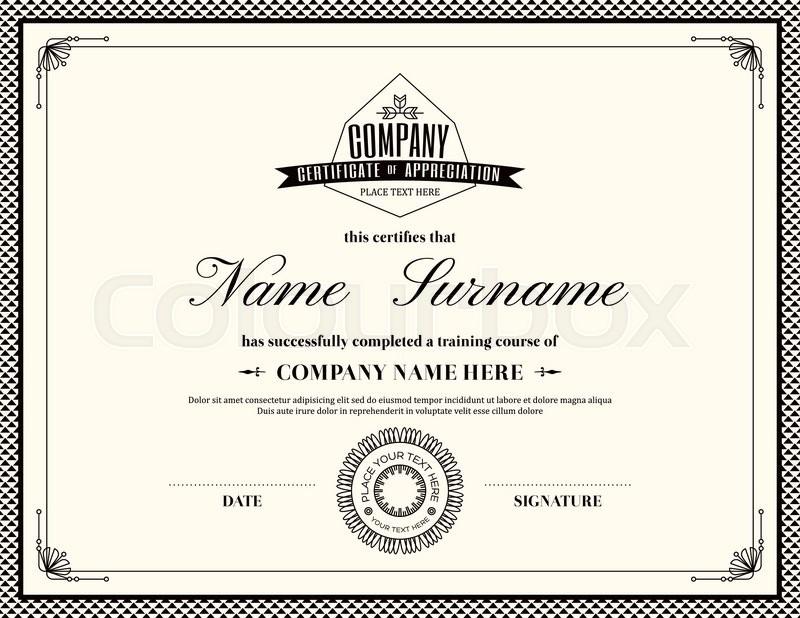 retro frame certificate of appreciation design template stock