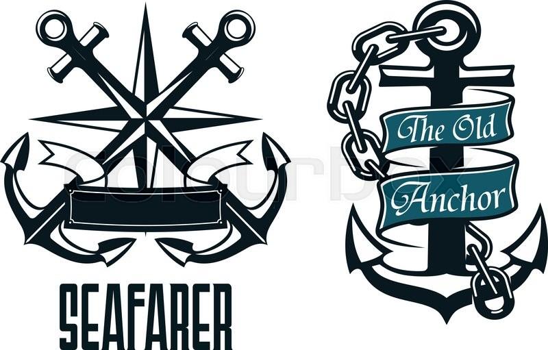 seafarer marine heraldic emblem and symbol with ship anchors rh colourbox com sessa marine logo vector marine logo vector 39