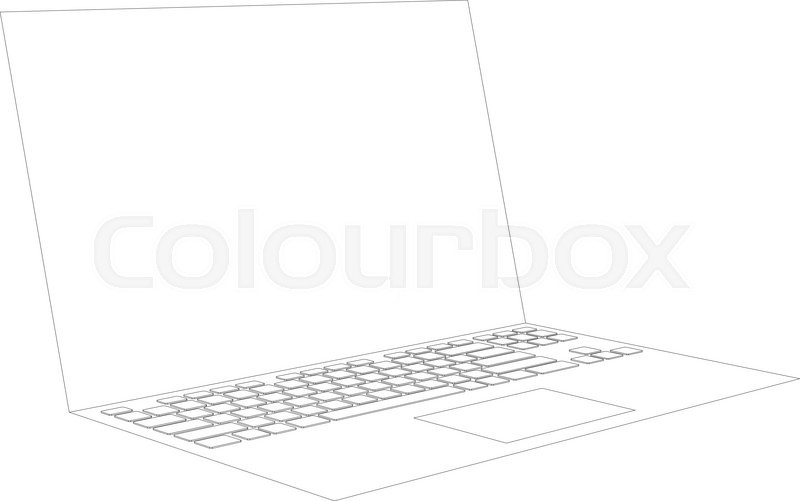 Laptop sketch on isolated white     | Stock vector | Colourbox