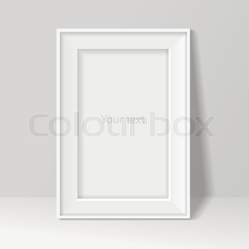 0809a81a1af Stock vector of  Blank frame on white wall background. Vector illustration  .