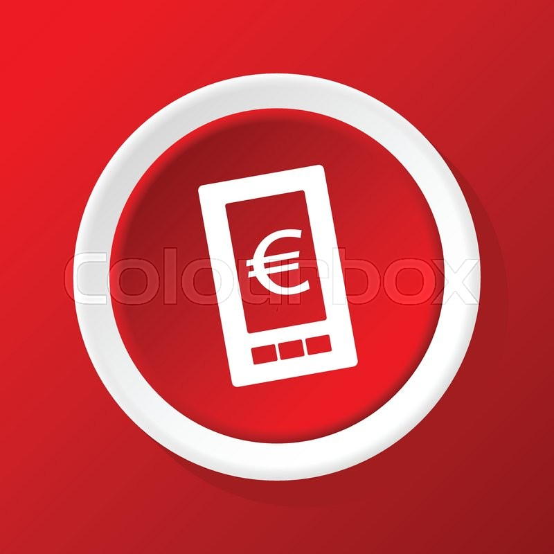 Round White Icon With Euro Symbol On Phone Screen On Red Background