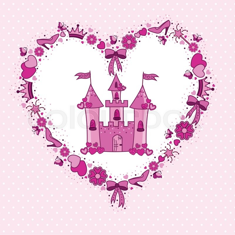 Pink heart of items for the princess from the castle | Vector ...
