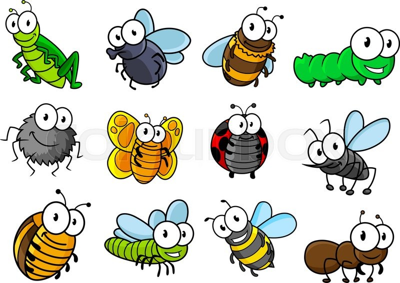 colorful collection of vector cartoon bugs and insects with rh colourbox com cartoon insects clipart cartoon insects images