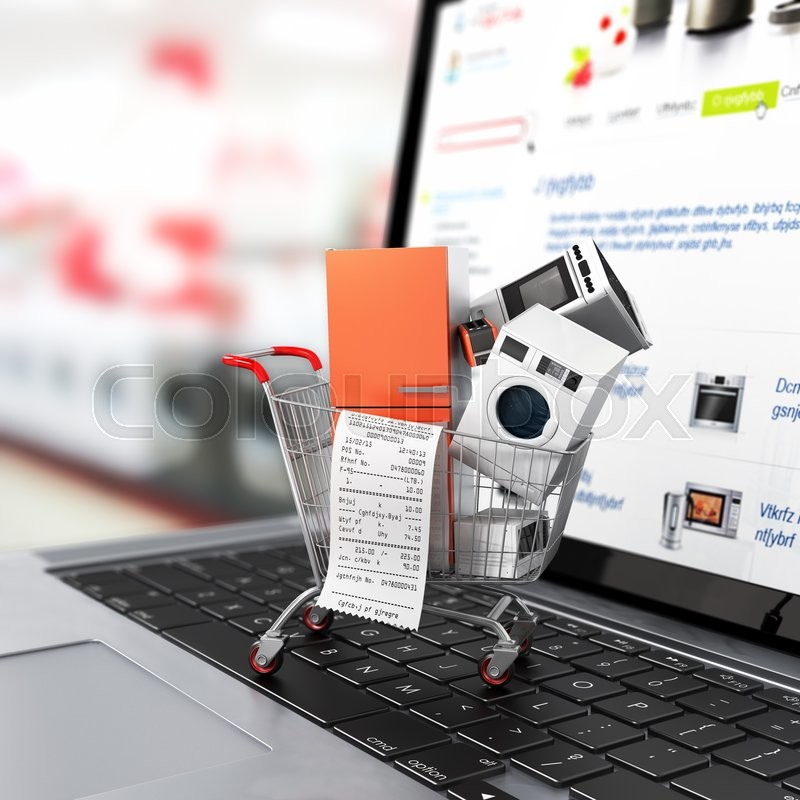 Large home appliances with a check in the shopping cart on the notebook. E-commerce concept, stock photo
