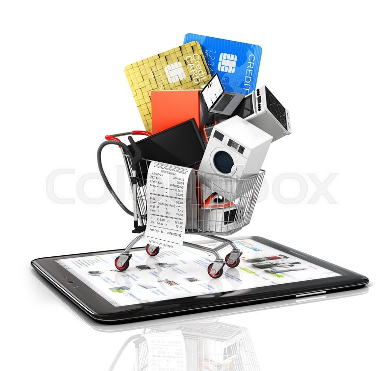 Online store. Large home appliances with a check in the shopping cart on the tablet PC. E-commerce concept, stock photo
