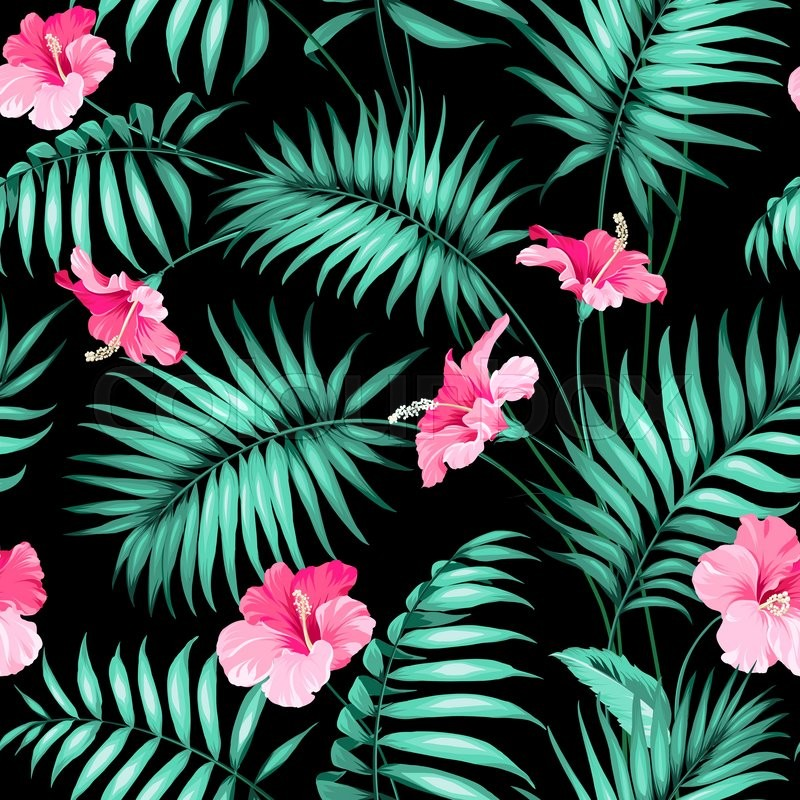 Tropical Flowers And Jungle Seamless Texture Vector