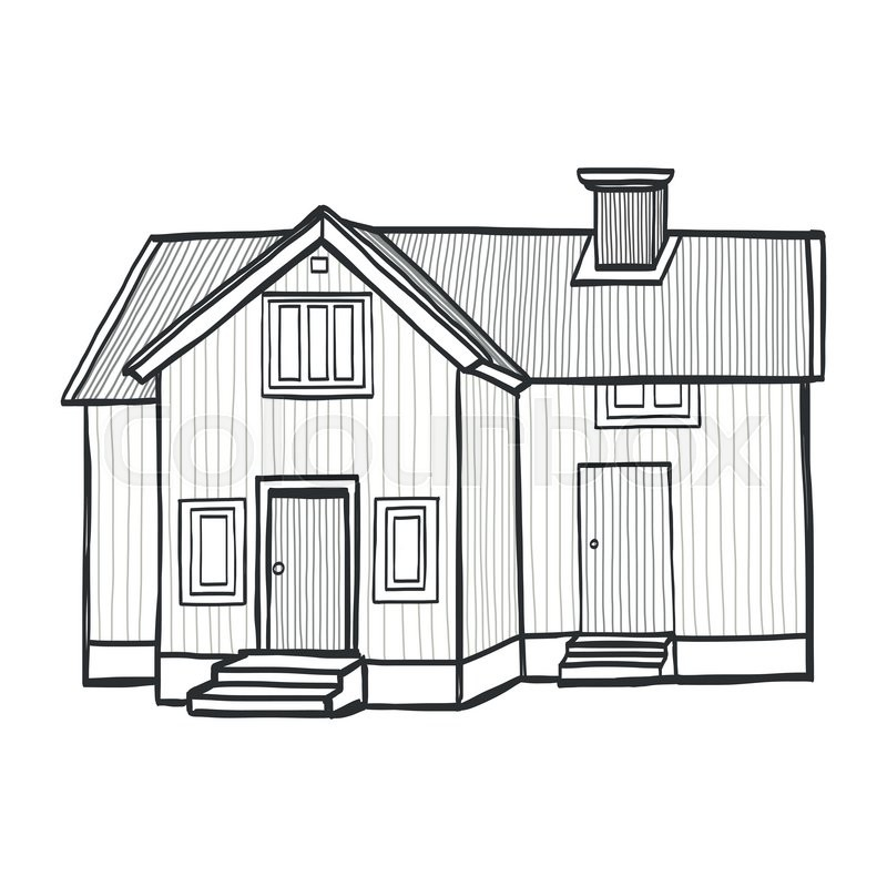 Hand Drawn Sketchy Scandinavian House. Freehand Sketch Of A Small  Countryside Home, Isolated On White Background. | Stock Vector | Colourbox