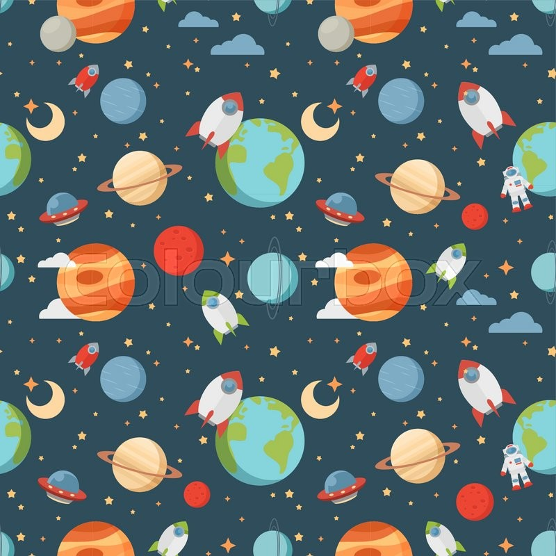 Seamless children cartoon space pattern with rockets, planets, stars and universe over the dark night sky background | Stock Vector | Colourbox