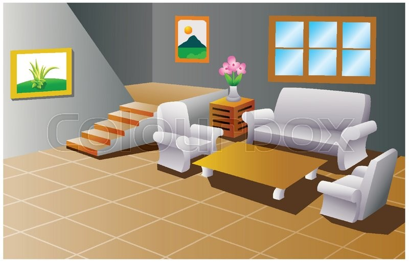 Vector illustration of Interior of a house living room | Stock ...