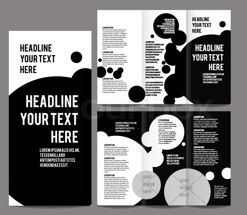 brochure design template vector trifold black and white