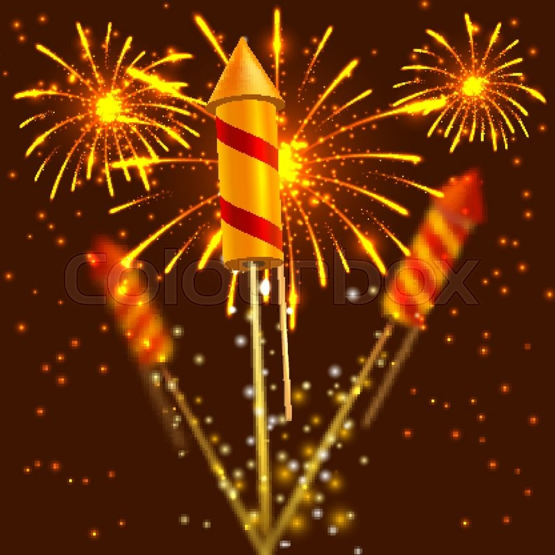 bright festival crackers on fireworks background vector illustration stock vector colourbox