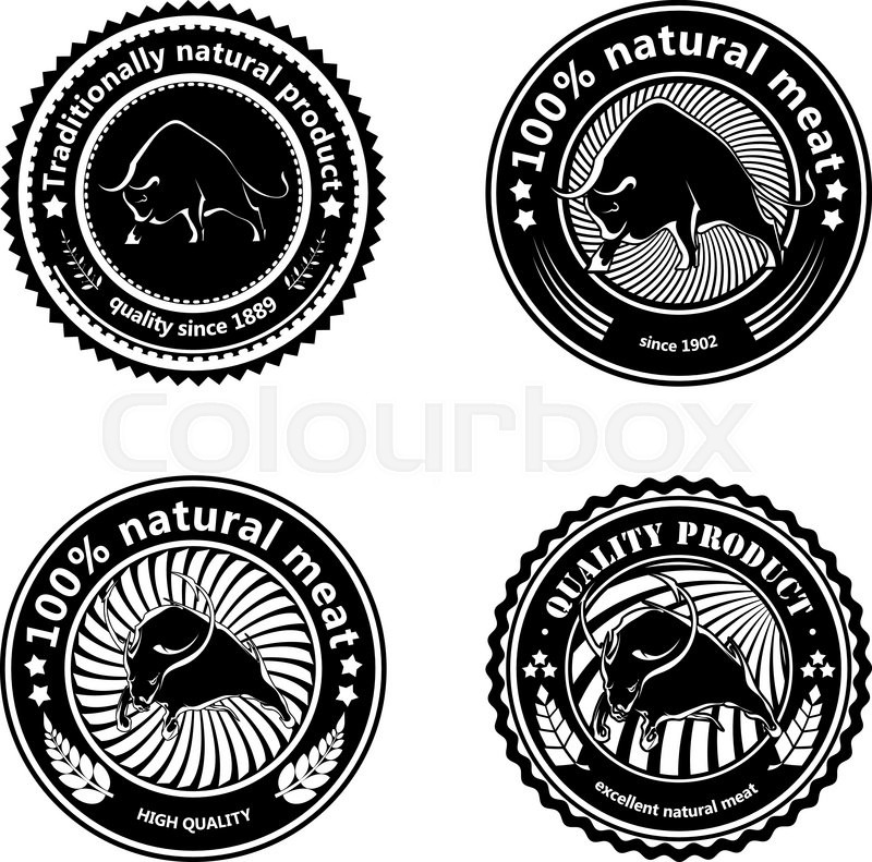 Jll Design What To Do With Your Ranch: Set Of Logos, Labels With Silhouettes Of Bulls. Design