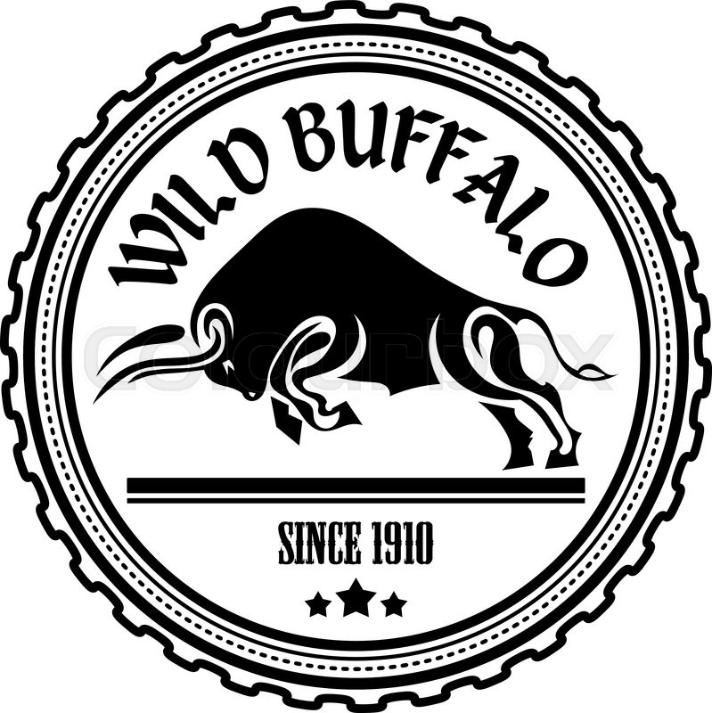 Logo , Label Two Buffalo, Bull Fighting. Design Badge For