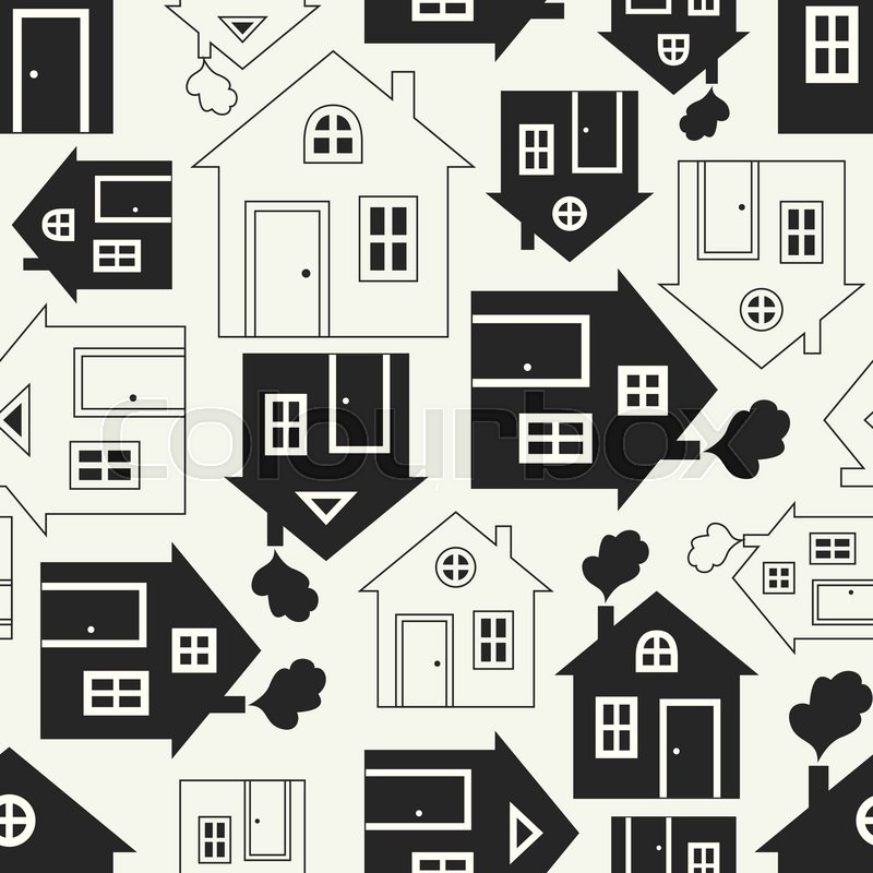 home sweet home house silhouette and outline seamless pattern with