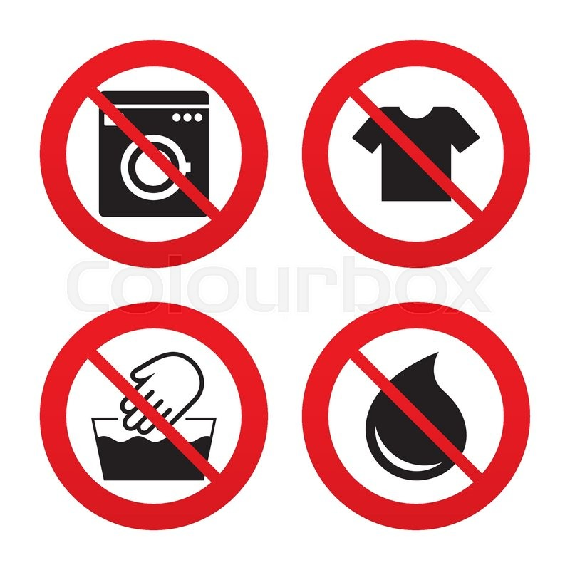 No Ban Or Stop Signs Wash Machine Icon Hand Wash T Shirt Clothes