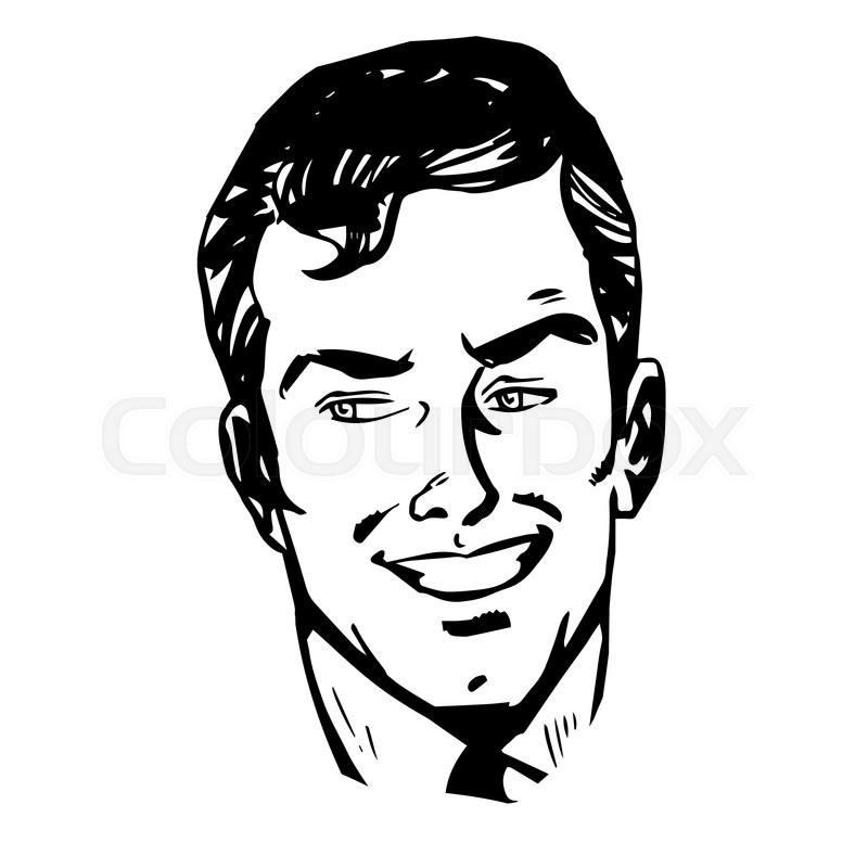 Line Drawing Man : Smiling man face retro line art graphics stock vector