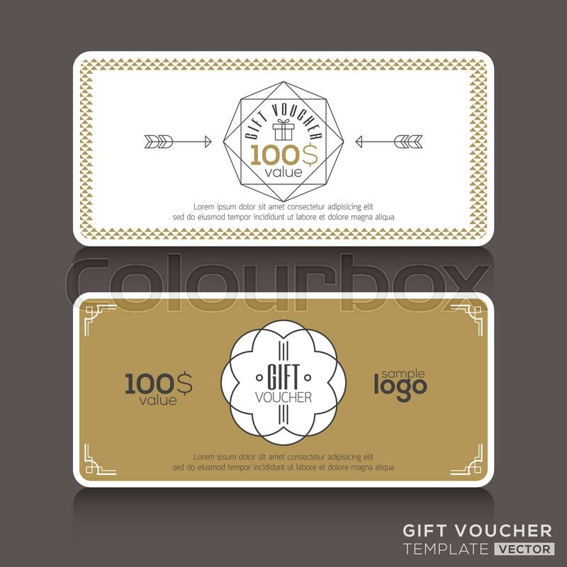 Gift Certificate Voucher Coupon Template With Line Art Hipster