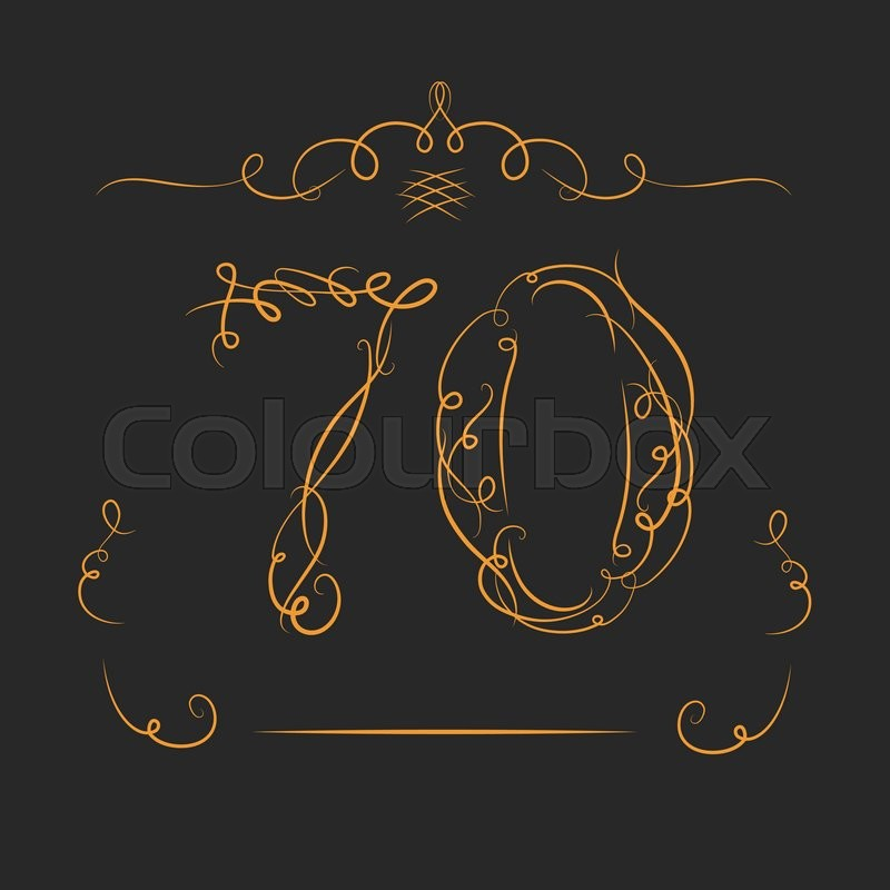 Anniversary 70th Signs In Calligraphy Style Template Of Anniversary Birthday And Jubilee Emblems With Number Stock Vector Colourbox