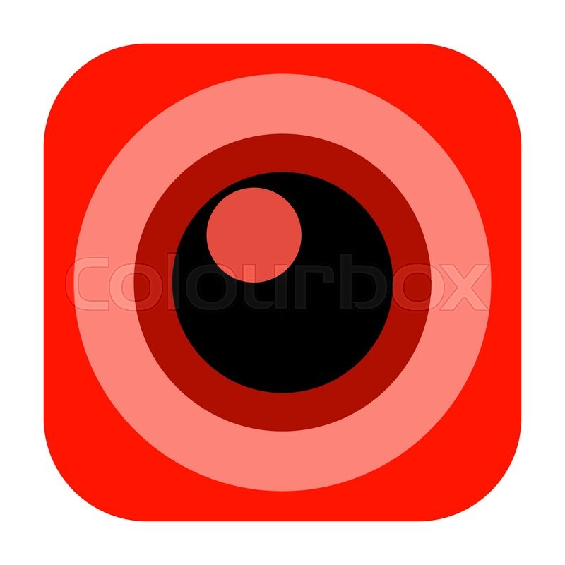 Stock image of 'Red camera lens icon isolated on white background'