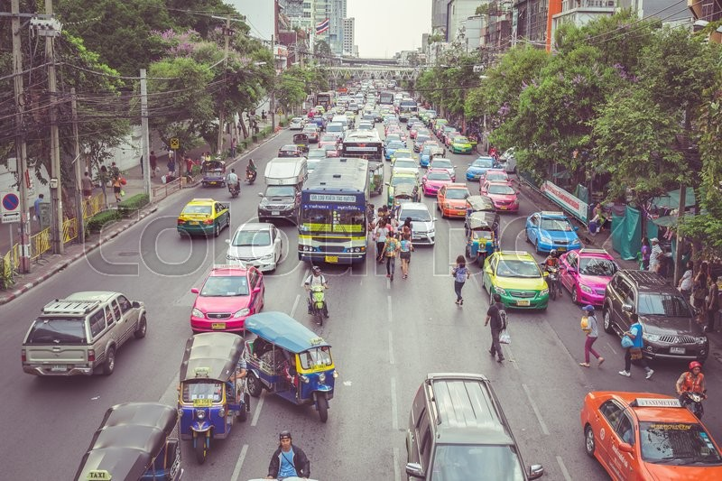 BANGKOK - APRIL 11 : Traffic approaching a dead end on a busy street in the city center, on 11 April 2015 in Bangkok, Thailand. Congested roads Bangkok, stock photo