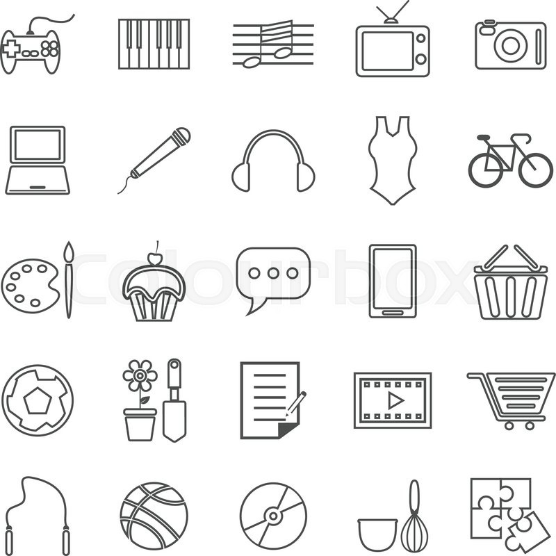 Hobby Line Icons On White Background Stock Vector Colourbox