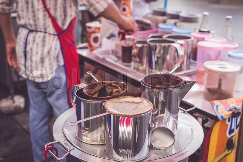 Close up local coffee and equipment in Thailand market, stock photo
