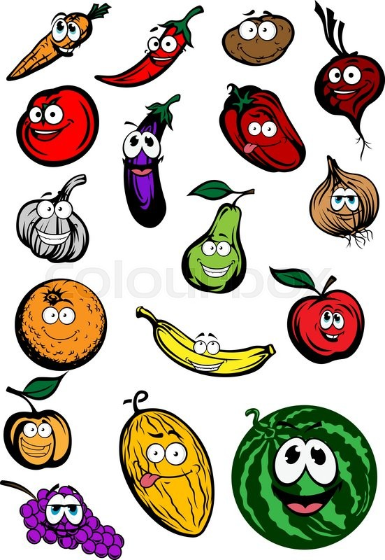 Cartoon funny fruits and vegetables characters with apple orange