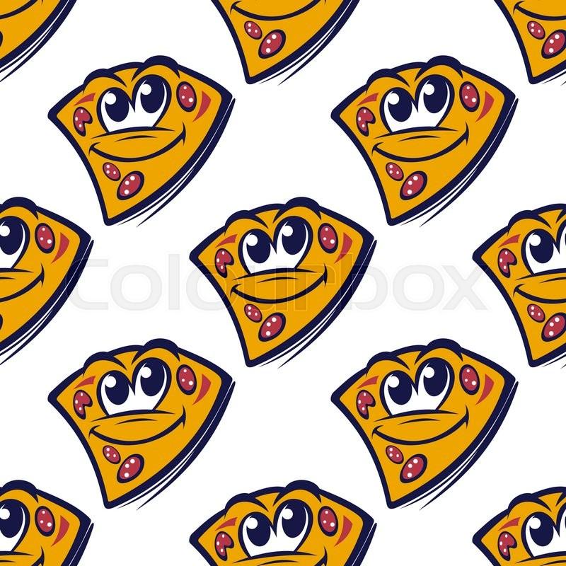 cheesy pizza cartoon characters seamless pattern with pepperoni rh colourbox com Cartoon Donut Cartoon Ice Cream Sundae