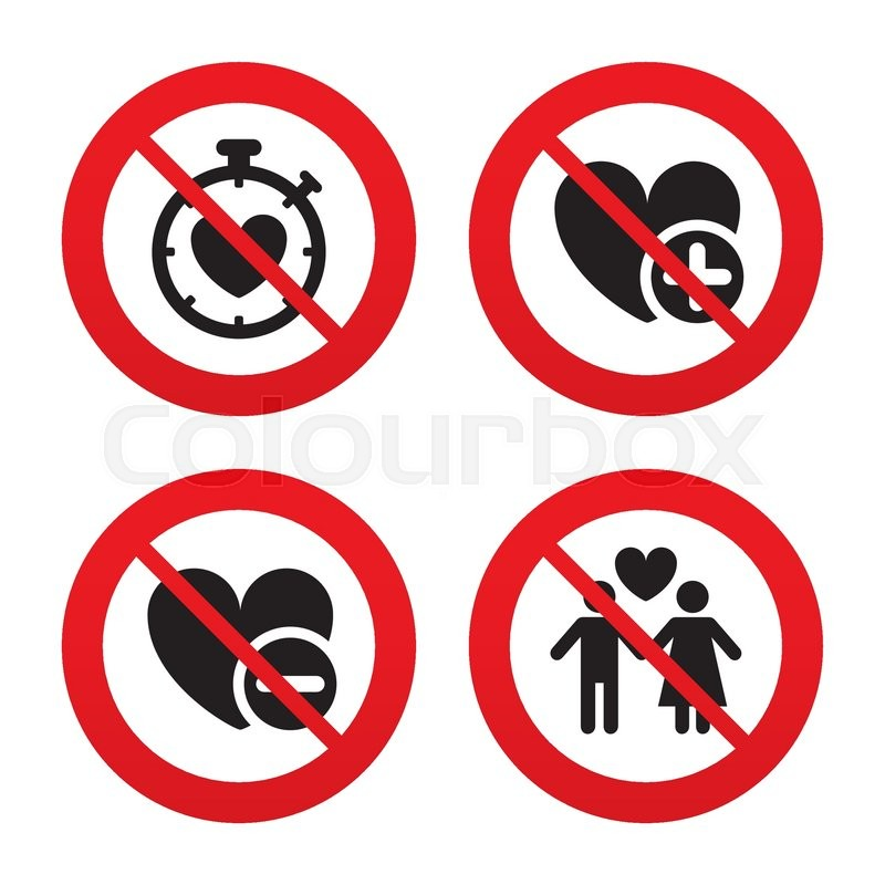 No Ban Or Stop Signs Valentine Day Love Icons Love Heart Timer