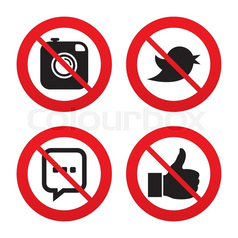 No Ban Or Stop Signs Hipster Photo Camera Icon Like And Chat