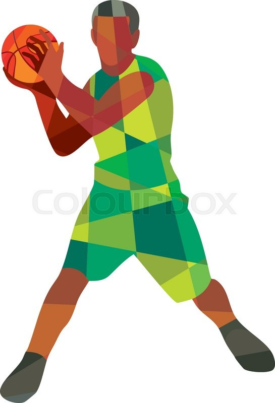 Low Polygon Style Illustration Of A Basketball Player Holding Ball In Action Facing Front Set On Isolated White Background