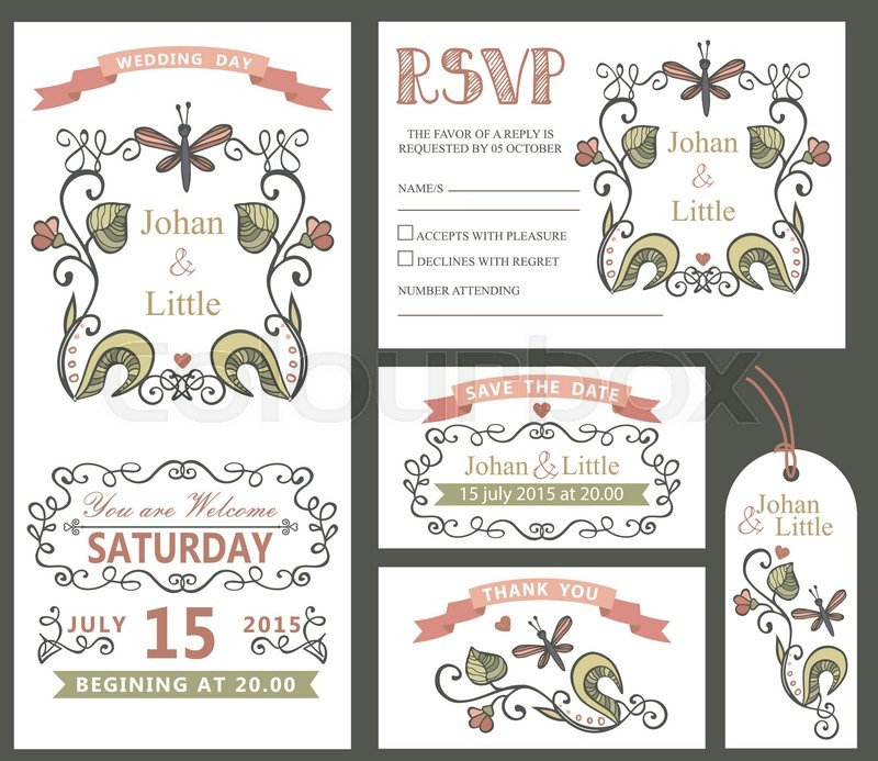 Wedding design template set with doodles flowers,frame,ribbon,border ...