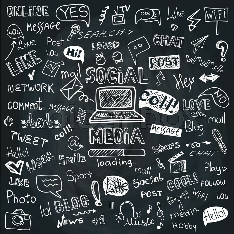 Social Media Word And Icons In Doodle SketchyHand Drawing SetVectorChalkboard Background Vector