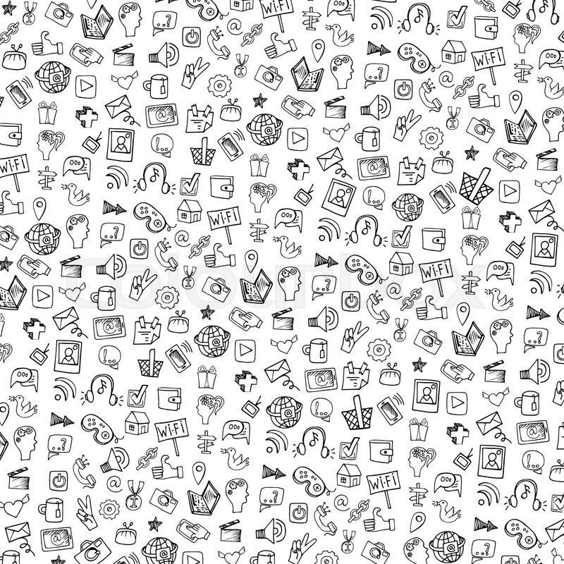 Social Media Icons Pattern In Doodle Sketchy On Notepaper Hand Drawing SetFor BackdropbackgroundfabricWallpaperVector Background Vector