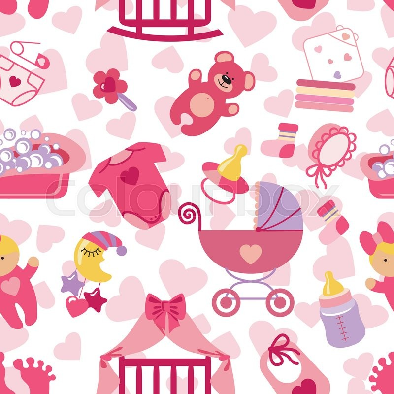 Cute Newborn seamless pattern.Flat icons set for Baby girl ...