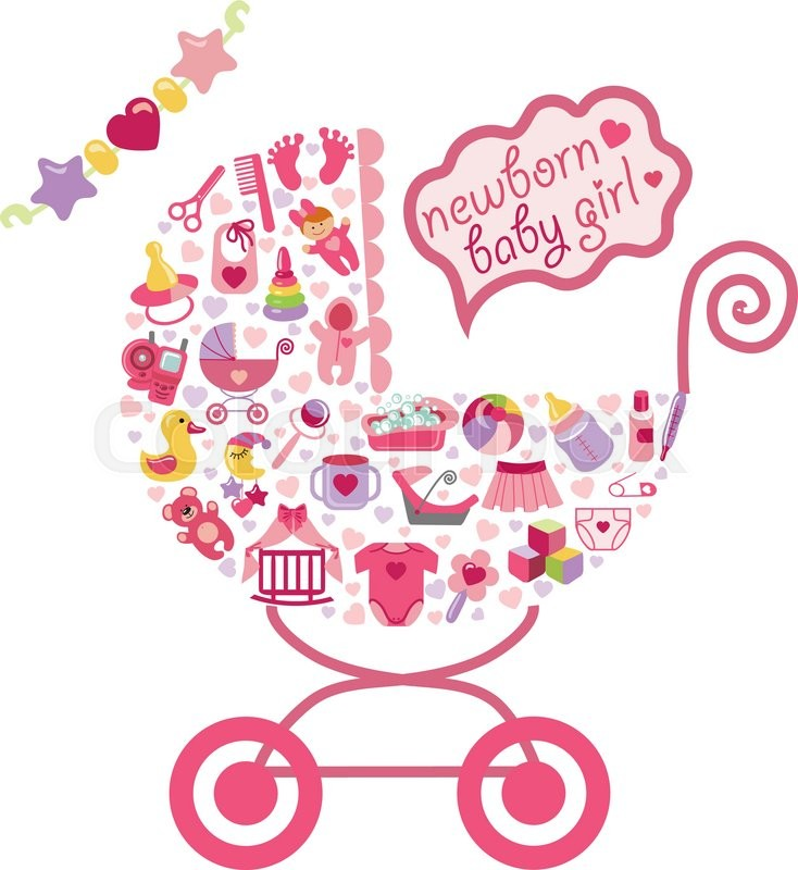 New Games Car >> Cute Newborn icons set for Baby girl.Ñomposition in form of carriage.Baby shower cartoon design ...